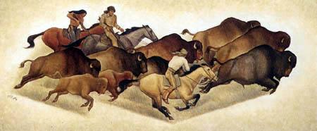 Maynard Dixon - Running Buffalo with Hunters