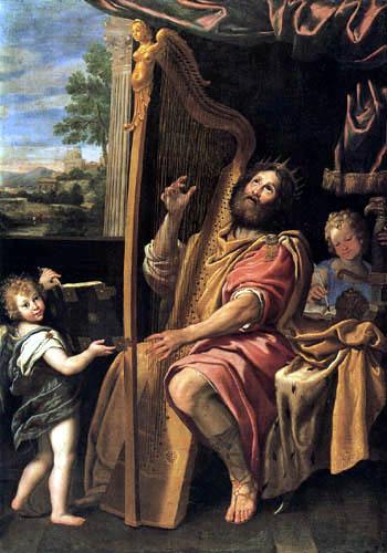 Domenichino (Domenico Zampieri) - König David spielt die Harfe