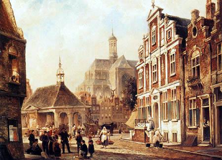 Cornelis Christiaan Dommershuizen - The Fish Market in Groningen