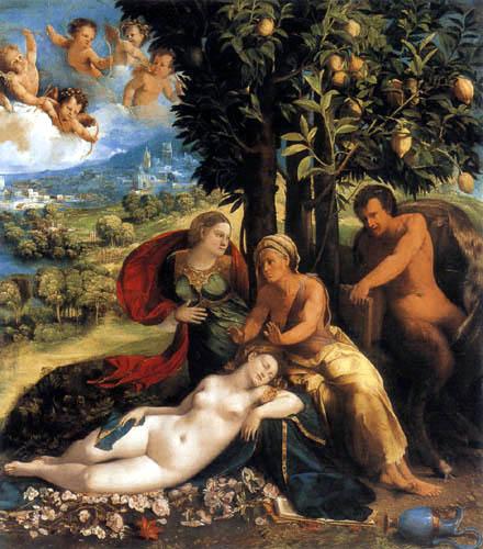 Dosso (Giovanni di Lutero) Dossi - Allegorie with Pan