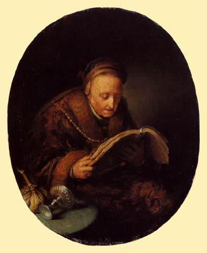 Gerard (Geritt) Dou - Old woman with a book
