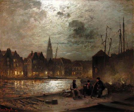 Louis Douzette - Hafen bei Mondschein mit Personen