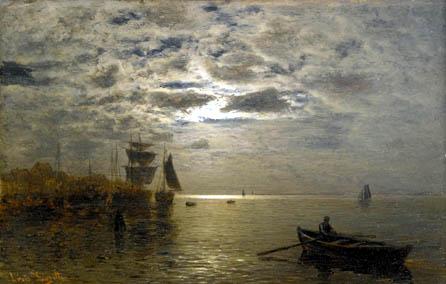 Louis Douzette - Küstenlandschaft im Mondschein