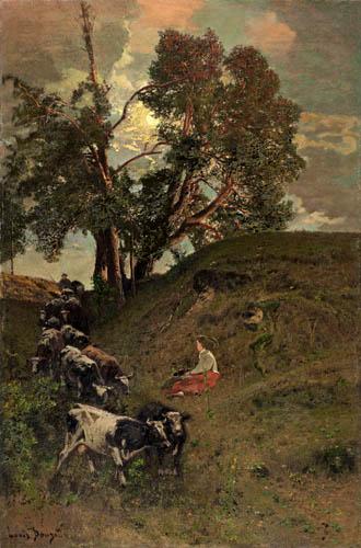 Louis Douzette - Landscape with Cows
