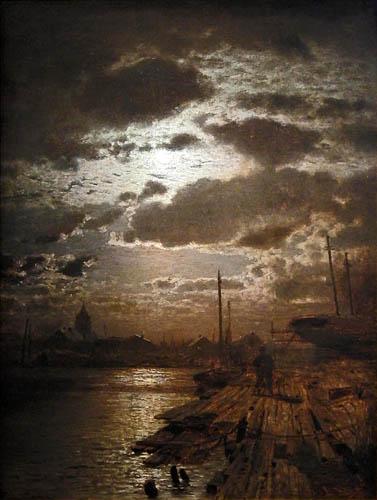 Louis Douzette - Mondschein über der Barther Werft