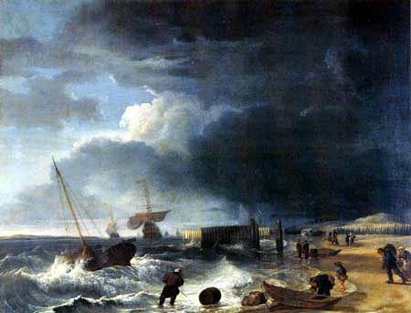 Hendrik Jacobsz Dubbels - The coast before Den Helder in the thunderstorm