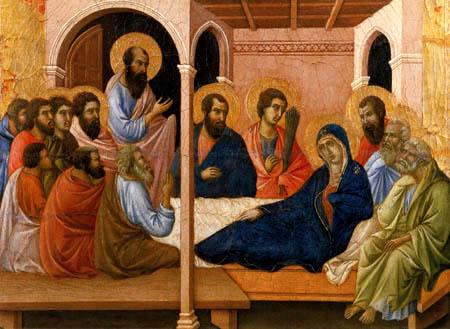 Duccio (di Buoninsegna) - Maesta, Abschied von den Aposteln