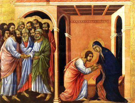 Duccio (di Buoninsegna) - Maesta, Abschied von Johannes