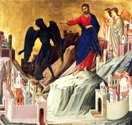 Duccio (di Buoninsegna) - Maesta, Die Versuchung