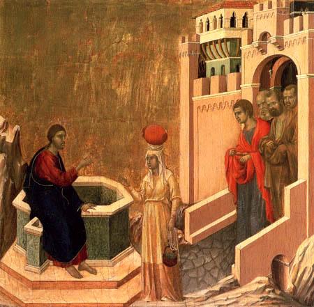 Duccio (di Buoninsegna) - Maesta, Jesus und die Samariterin