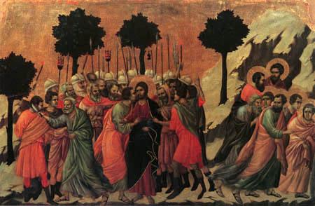 Duccio (di Buoninsegna) - Maesta, Die Gefangennahme Jesu