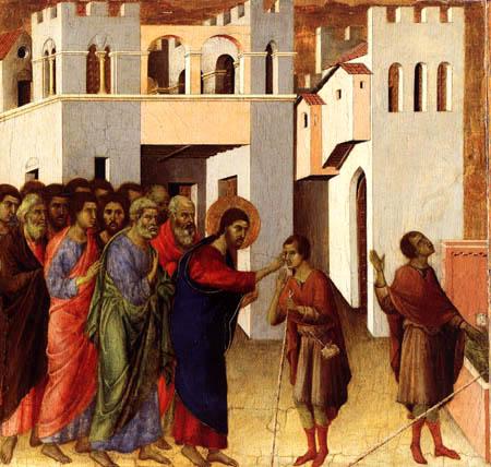Duccio (di Buoninsegna) - Maesta, Die Heilung des Blinden