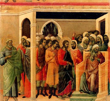 Duccio (di Buoninsegna) - Maesta, Jesus vor Kaiphas