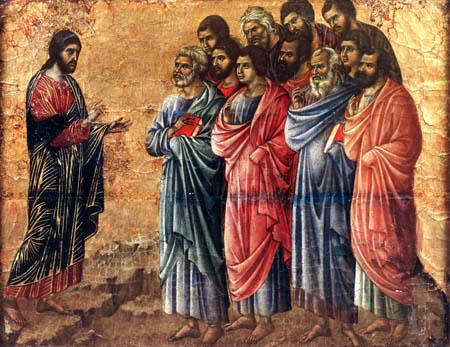 Duccio (di Buoninsegna) - Maesta, Die Erscheinung auf dem Berg