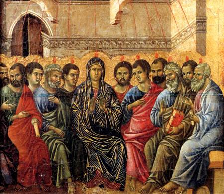Duccio (di Buoninsegna) - Maesta, Die Herabkunft des heiligen Geistes
