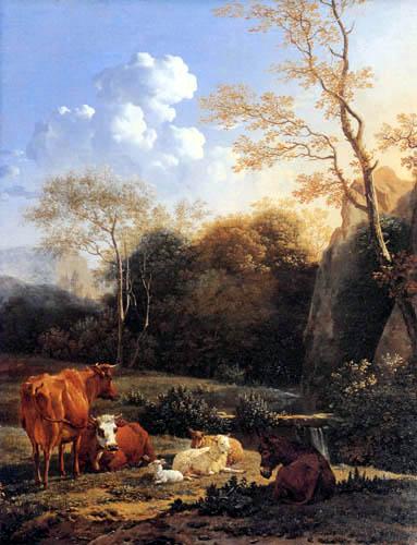 Karel Dujardin - Kühe und Schafe am Fluss
