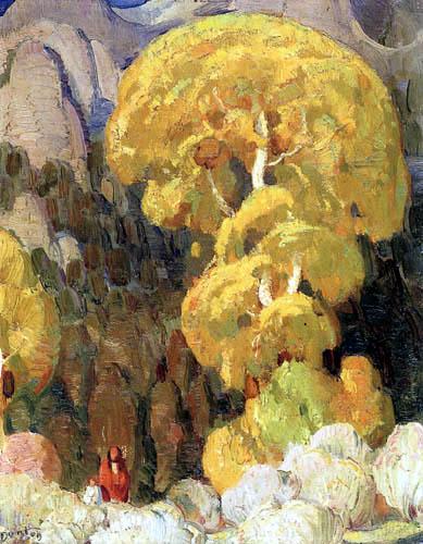 W. Herbert Dunton - Cottonwood in the Indian Canyon