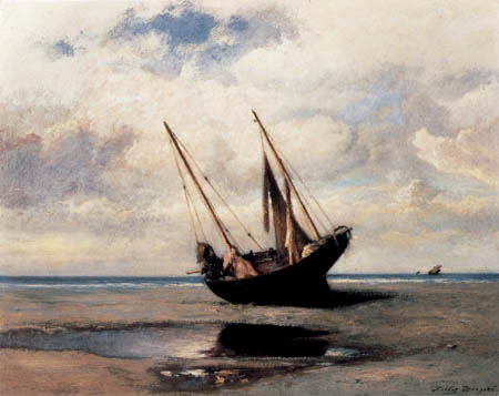 Jules Dupre - Fishing boat at the beach