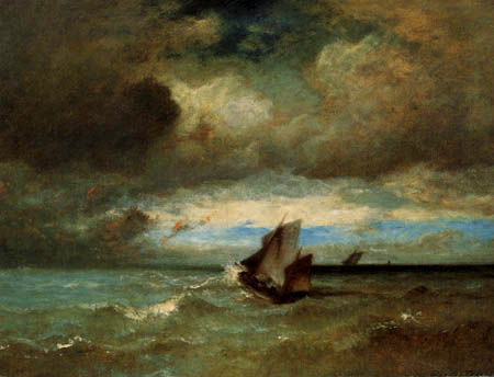 Jules Dupre - Boats in storm