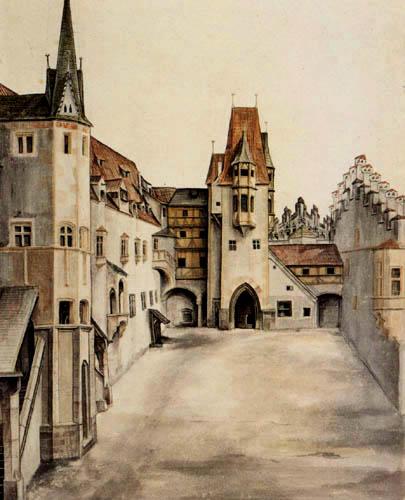Albrecht Dürer - La cour de la château à Innsbruck