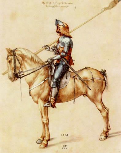 Albrecht Dürer - Un cavalier dans l'cuirasse