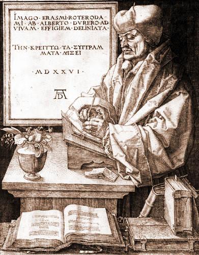 Albrecht Dürer - Porträt des Erasmus von Rotterdam
