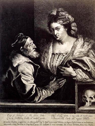Sir  Anthonis van Dyck - Tizian und seine Geliebte