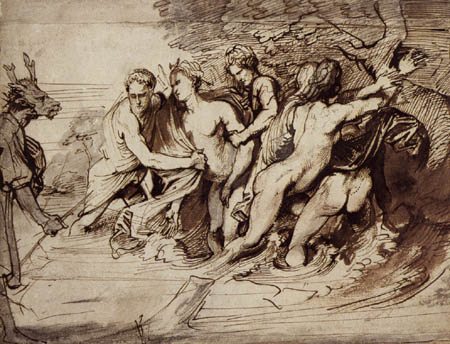Sir  Anthonis van Dyck - Diana und Aktaeon, Studie