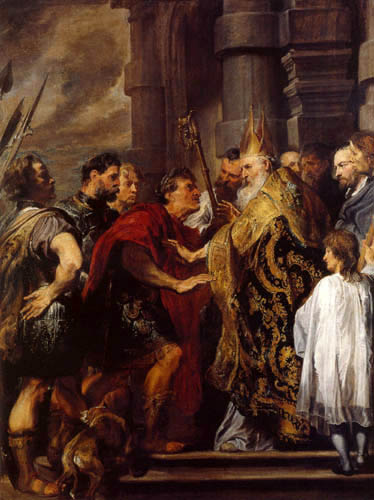 Sir  Anthonis van Dyck - Saint Ambrose and the Emperor Theodosius