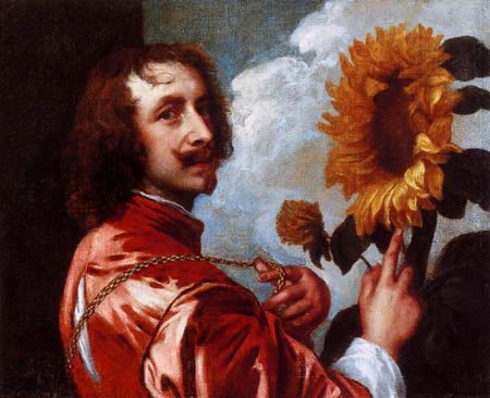 Sir  Anthonis van Dyck - Selfportrait with sunflower