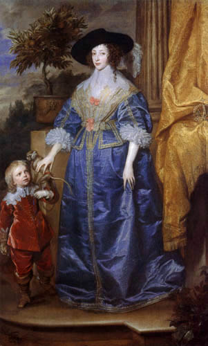 Sir  Anthonis van Dyck - Queen Henrietta Maria and Jeffrey Hudson