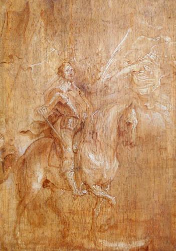 Sir  Anthonis van Dyck - Grisailleskizze für ein Reiterbildnis