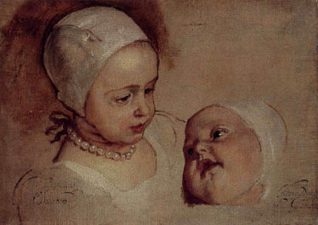 Sir  Anthonis van Dyck - Princess Elizabeth and Princess Anne