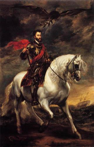 Sir  Anthonis van Dyck - Reiterbildnis König Karl.