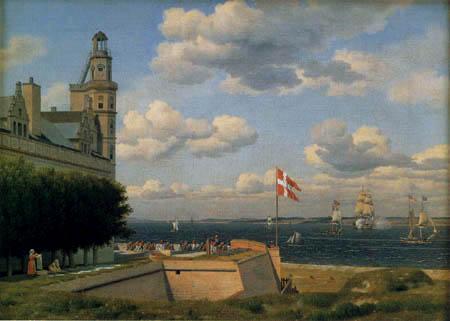 Christoffer V. Eckersberg - View from castle of Kronborg