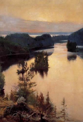 Albert Edelfelt - Seenlandschaft am Abend