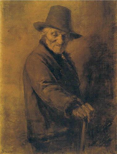 Albin Egger-Lienz - Un vieil homme avec un chapeau