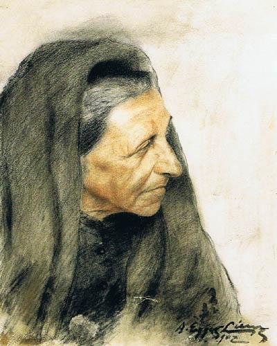 Albin Egger-Lienz - Head of a Woman