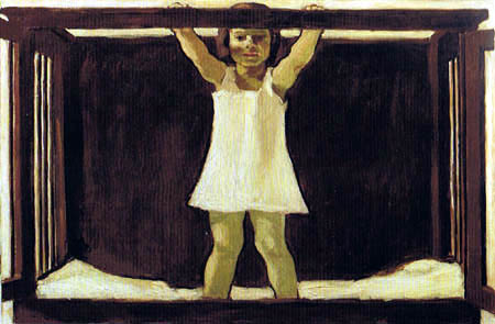 Albin Egger-Lienz - La fille Ila dans le lit d'enfant