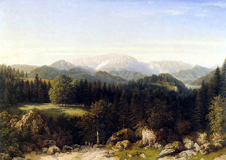 Thomas Ender - Mariahilferberg near Gutenstein and the Schneeberg