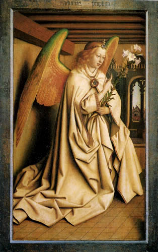 Jan van Eyck - Ghent Altarpiece, Angel of the Annunciation