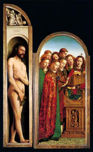 Jan van Eyck - Altar of Ghent, Adam and Singing Angels
