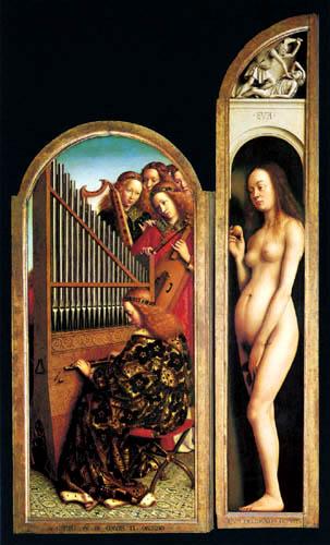 Jan van Eyck - Altar of Ghent, Eva and Singing Angels