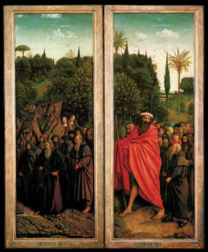 Jan van Eyck - Ghent Altarpiece, Hermits and pilgrims