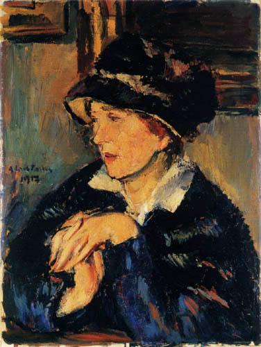 Anton Faistauer - Une dame avec le chapeau foncé