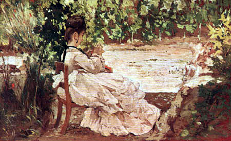 Giovanni Fattori - Mujer joven en el jardín