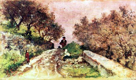 Giovanni Fattori - Camino entre olivos con paseantes