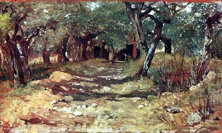 Giovanni Fattori - Weg zwischen Olivenbäumen