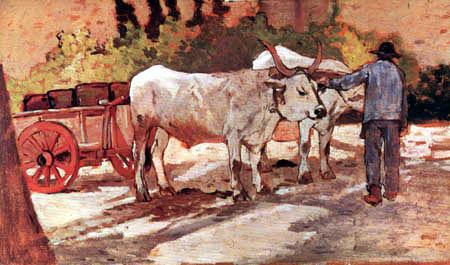 Giovanni Fattori - Campesino y carro con bueyes