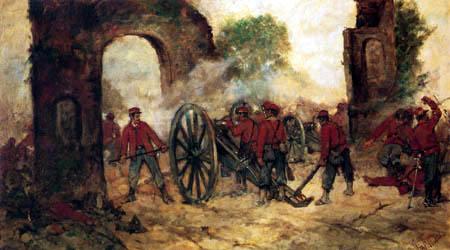 Giovanni Fattori - Die Verteidigung der Porta Capuana in der Schlacht von Volturno
